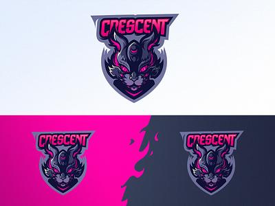 Crescent mascotlogo logodesign crescent branding vector design logo cat
