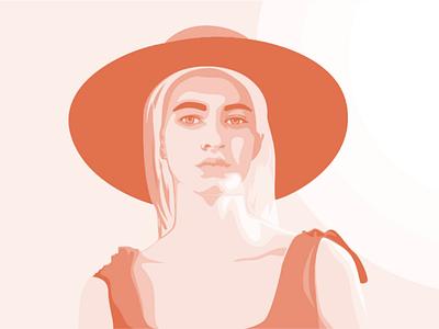 Sunhat 2 sunset sunhat sun summer simple orange monotone minimalism minimal logo illustration illusrator design