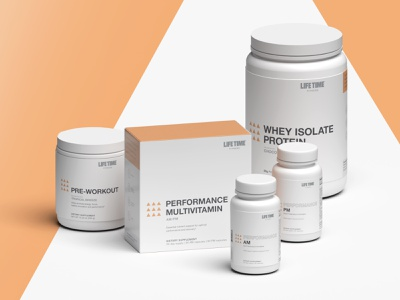 Life Time Performance Line life time protein vitamin branding minimal supplement package design 3d render packaging