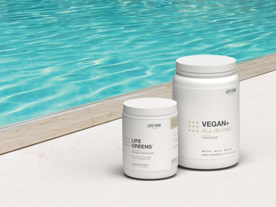 Supplements By The Pool pool summer 3d dimension package design supplement protein render minimal design branding