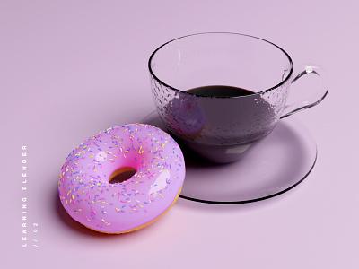 Blender Donut & Coffee learning model realism coffee donut cycles 3d art blender3d blender
