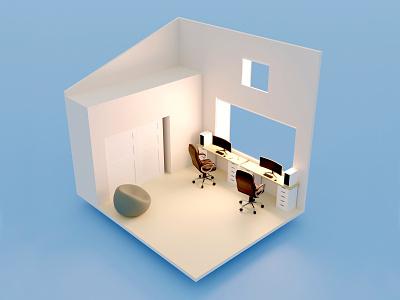 Low Poly Office cycles isometric simple design minimal blender blender3d 3d artist 3d modeling 3d
