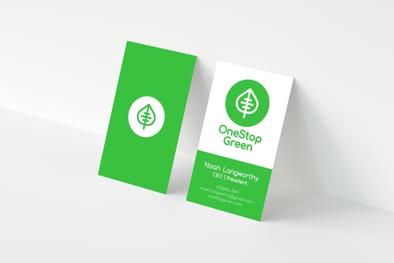 OneStop Green Business Card type illustrator geometric simple branding minimal typography minimalist design minimalism logos logo graphic design
