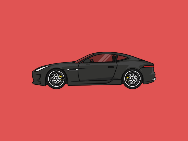 Jaguar F-Type ftype simple poster jaguar minimalist minimalism minimal illustration icon car design concept