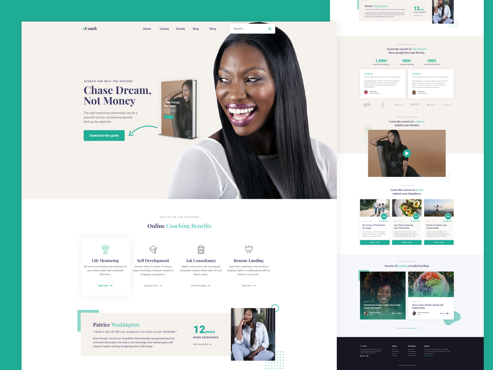 eCoach   Life Coach & Trainer XD PSD Template by Nasir Uddin on ...
