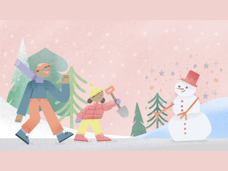 Snow day procreate design xmas snowman characterdesign childrenbooks flatillustration ilustracion ilustracion flat character children book ilustración illustration art illustration