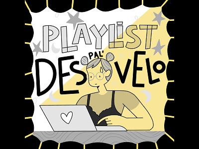 Work At night playlist cover overnight ilustration flat greyscale millenial workingwoman grey procreate designer workathome wah work music playlist