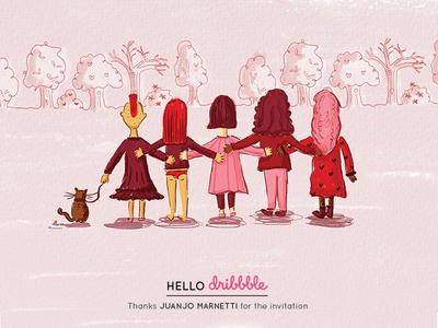 Together digital art girls sorority empowerment illustration woman