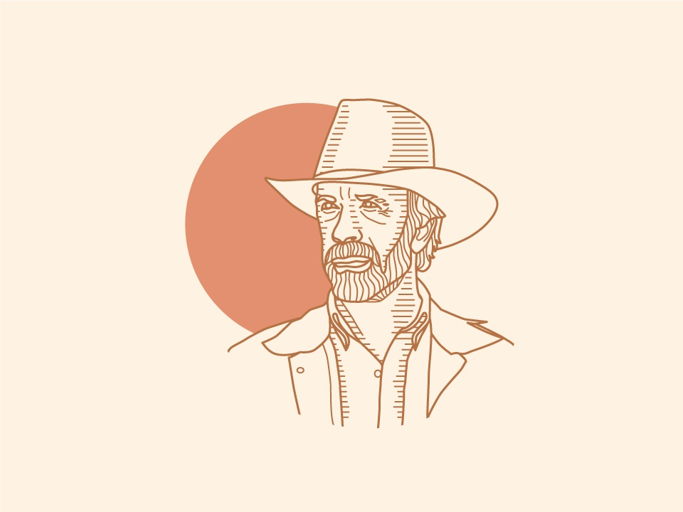 Men of my Childhood: Walker, Texas Ranger minimal portait line art drawing texas art 2d vector design illustration