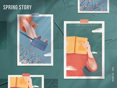 Spring story 01 skirt sky green hope warm postcard story spring orange 插图 girl design illustration