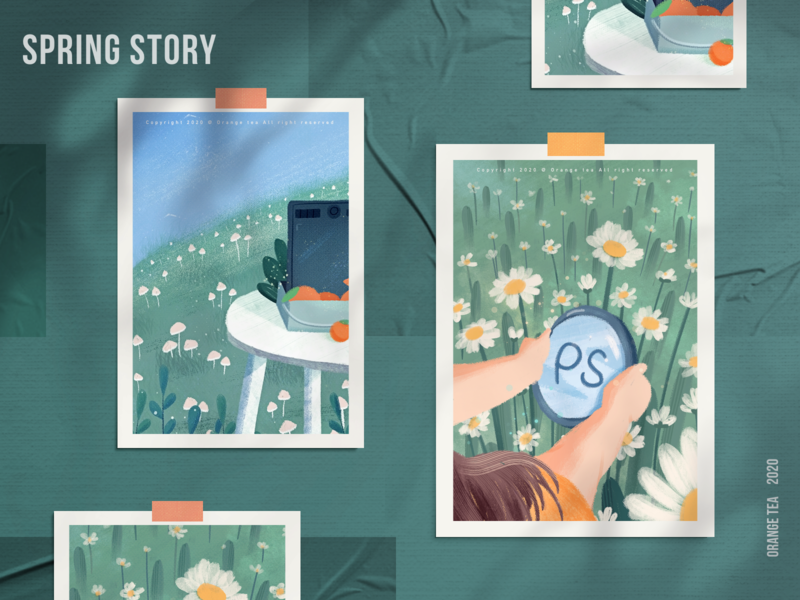 Spring story 02 dream orange bule green spring flower photoshop 插图 设计 girl design illustration