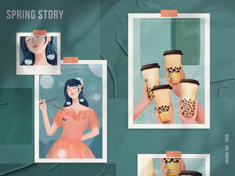 Spring story 03 food blue green constellation 设计 插图 girl design illustration