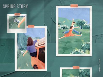 Spring story 04 设计 插图 girl design illustration