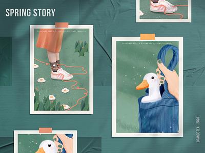 Spring story 05 lovely orange blue green plant flower bag skirt duck 设计 插图 design girl illustration