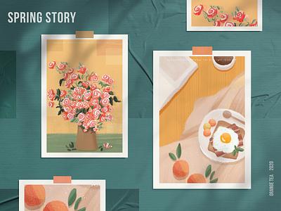 Spring story 06 sunshine warm egg orange spring food flower 设计 插图 design girl illustration