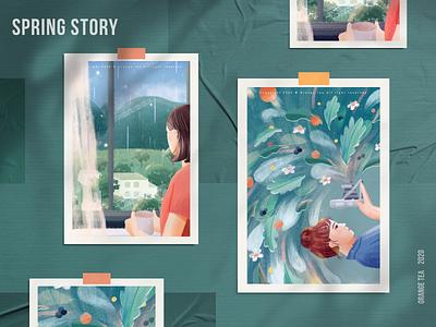 Spring story 08 postcard rain colorful warm spring blue orange green 设计 插图 design girl illustration