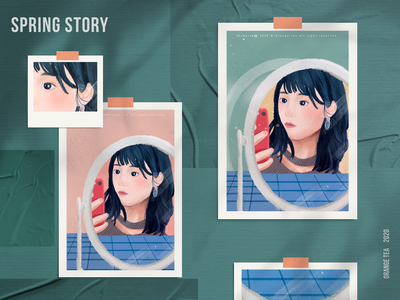Spring story 09 postcard plaid blue green selfie face eyes iphone x hair mirror 设计 插图 design girl illustration