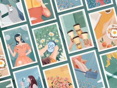 Spring story collection green blue warm postcard story spring collection 设计 design girl illustration