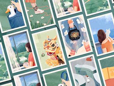 Spring story collection #2 warm orange green spring flower boy blue 设计 插图 design girl illustration