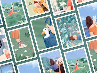 Spring story collection #3 green blue warm flower spring orange 设计 插图 design girl illustration