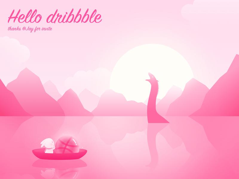 hello illustration 设计 hello dribbble first shot 插图
