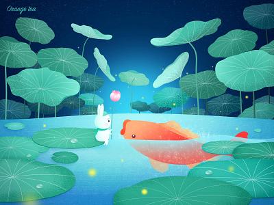 Rabbit Travel 03 koi fish lotus leaf illustration 设计 dream