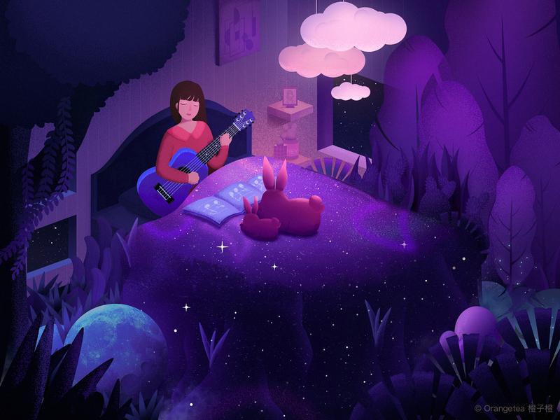Music life   Guitar girl rabbit girl guitar illustration