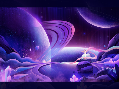 Starry night dream smoke river plant stone be quiet star pink blue free dance universe design 设计 插图 girl illustration