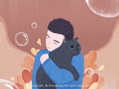 Portrait series 02 warm colors happy hug embrace illustration 插图 设计 bubble blue plant cat boy people portrait