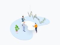 Free Illustration - Blockchain Trade Coin Team Isometric
