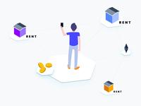 Free Illustration - Apartment Rent Blockchain Platform Isometric