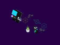 Free Illustration - Blockchain Platform Isometric