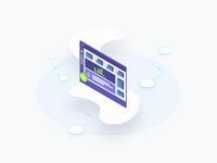 Blockchain Isometric Dashboard Graphic