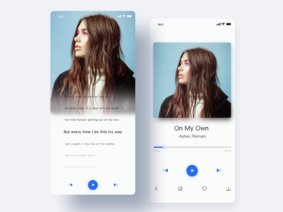 Music play page and lyrics page