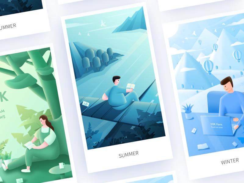 Spring, summer, autumn and winter team summer 插画 illustration 设计 design