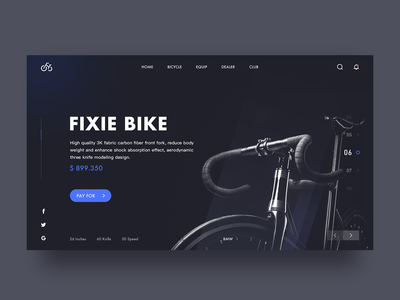 Fixie Bike web plan ux ui vector illustration design