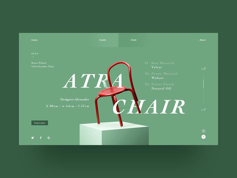 Atra Chair red green chair web design web design ux ui
