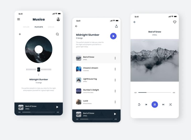 Musica music player music app ui design uidesign ui app design app