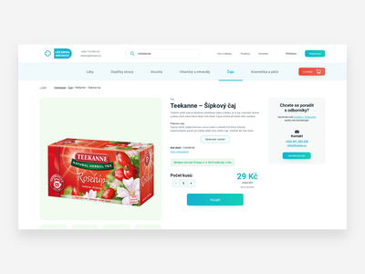 Lékárna Hronov – product detail pharmacy medicine ecommerce web  design web clean ux ui design