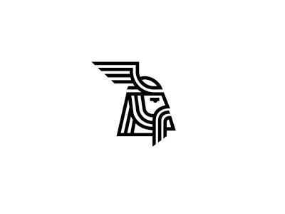 Barbar wings warrior viking tribe data logo