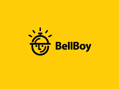Bell Boy boy service ringing simple bell boy logo