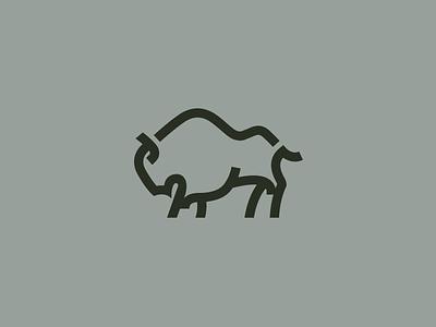 Bison Logo bold line mountain m bison icon logo