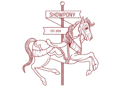 Showpony Carousel Logo logo showpony carousel horse one color clean group project logo line