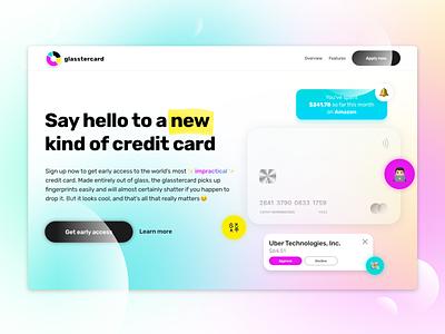 Credit Card Landing Page Concept ui design website concept web design