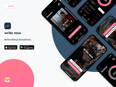 Writing App Concept mobile app design product design app ui concept