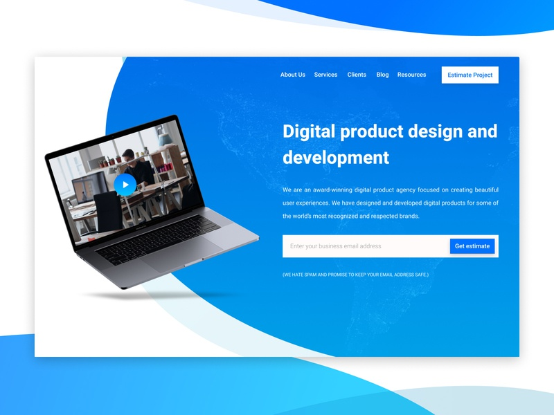 Agency Landing Page Mockup agency web design concept