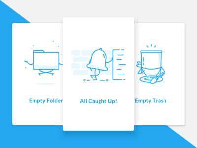 Empty State Illustrations shadow fresh personification fun cards trash folder notifications alerts flat ui illustration