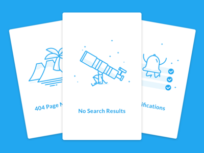 More Empty State Illustrations shadow fresh personification fun cards 404 search notifications alerts flat ui illustration