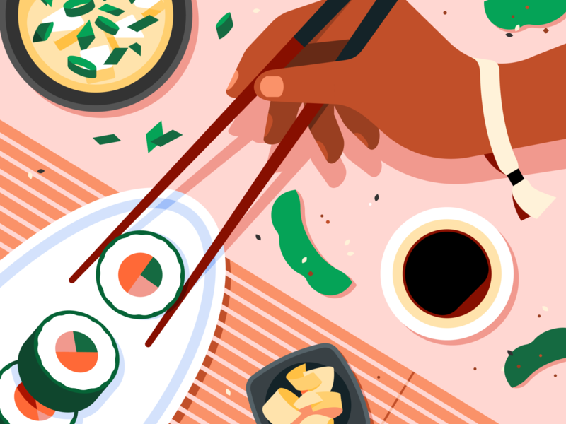 Eats Illustration System dim sum mexican japanese italian carne asada gyoza pizza sushi delivery