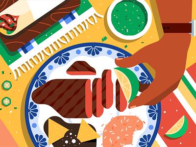 Eats Illustration System dim sum mexican japanese italian carne asada gyoza pizza sushi delivery